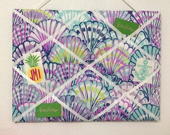 New memo board made with Lilly Pulitzer Blue Oh Shello fabric