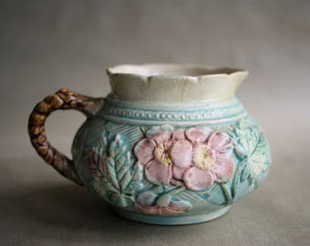 Vintage Majolica Dogwood Creamer Pink and Yellow Flowers Aqua Leaf Basketweave Background Aged and Wonderful Spring Table Accessory