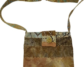 Batik Purse in Brown and Tan fabrics with Adjustable Straps