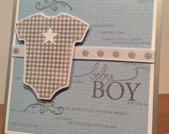 Baby Boy Card, Baby Onesie Card, New Baby Card