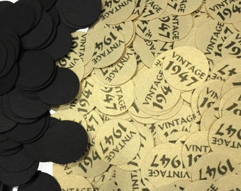 Vintage 1947 Party Confetti, 70th Birthday, 3/4 Inch Circles - Black and Gold or Your Colors