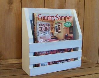 Primitive Magazine Rack Farmhouse Style Storage Wooden Book Rack / Clean White / Color Choice