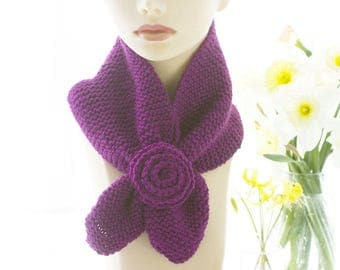 Bamboo Keyhole Scarf, Knit Flower Scarf, Purple Neck Warmer, Stay in Place Scarf, Self Tying Scarf, Ready to Ship