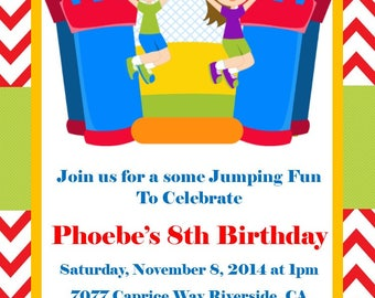 Inflatable MoonWalk Jumping Printable Birthday Party Invitation Digital  DIY Image Your Choice