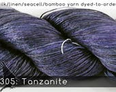 DtO 305: Tanzanite (a RavensWing color) on Silk/Linen/Seacell/Bamboo Yarn Custom Dyed-to-Order