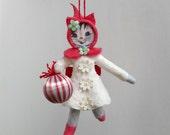 Spun cotton ornament, Cotton batting doll, Cat, Gray Kitty, Plumpuppets