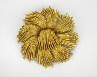 Vintage Monet Cordelia Brooch, Goldtone Domed Pinwheel Statement Brooch or Pin