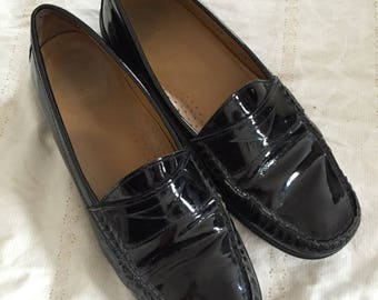 Cole Haan Vintage Loafers Shoes 1990s Cole Haan Black Patent Leather Loafers Size 6.5 Leather Slip On Flats Slip On Shoes Driving Shoes Mocs
