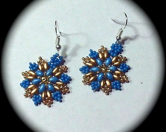 Sky Blue and Gold Native American Style Handwoven Seed Bead Earrings Medallion Style native boho southwestern ethnic tribal