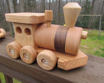 Sale 40 off!  Wooden toy train set 6 car Handmade toy oak and mahogany Heirloom Quality  Beautifully hand finished. Ready to ship!