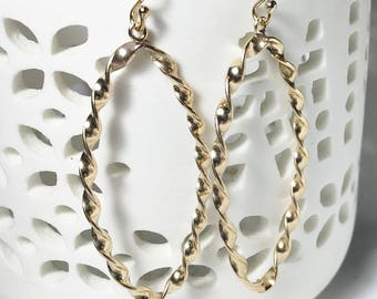 25% OFF Large Gold Marquise Hoops, Twisted Wire Earrings