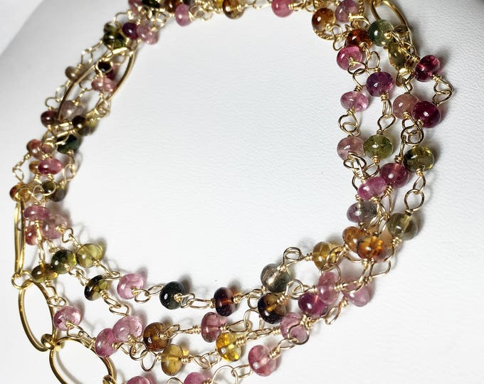 """Featured listing image: 25% OFF Tourmaline Wrap Necklace, Layering Multi Color Gemstone in Gold Fill, Length 38"""""""