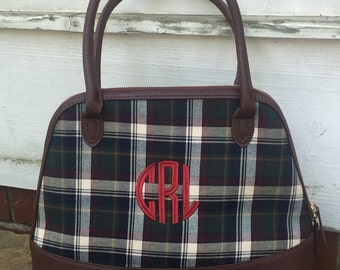 Plaid Monogrammed Purse-Bowler Personalized Purse- Monogrammed Purse