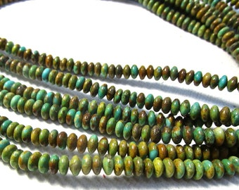 Natural  Zuni Turquoise Rondelle Beads,  6mm Nevada Turquoise Saucer Rondelle Beads,