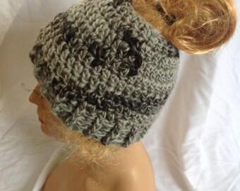 SALE - Dark Granite Top knot/Messy Bun Hat