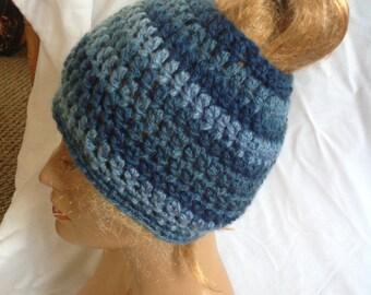 SALE - Denim Chunky Top knot/Messy Bun Hat