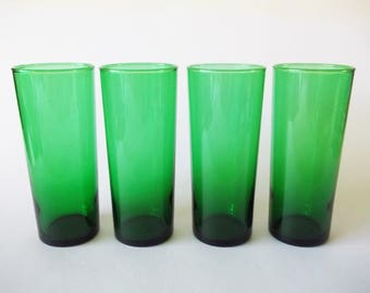 Anchor Hocking Forest Green Tall Iced/Ice Tea Glasses, Set of 4, USA 1950s-1960s