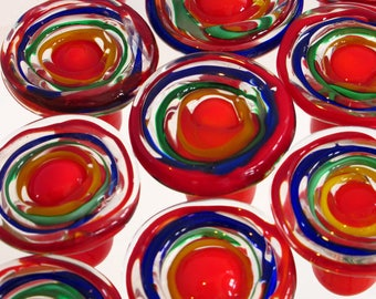 Knobs, Drawer Pulls,Handmade Knobs,Venetian Glass,Cabinet Knobs, Kids Room Knobs, Red Blue Green Yellow Orange, Price Shown Reflects 1 Knob