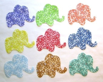 Set of 9 Elephant Iron-on 1930's Vintage Style Cotton Fabric Appliques for Quilts & Apparel