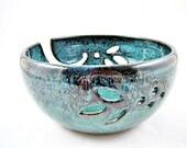 Large Yarn bowls , handmade ceramic yarn bowls , handmade knitting bowls - Teal blue - In stock