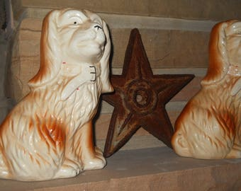Antique Staffordshire Style Mantle Dogs - Caramel and Cream Collared Seated Spaniels -Book Ends, English Home Decor, French Country Provence