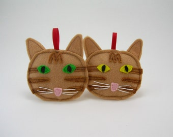 Tabby Cat Christmas Ornament  in Orange // Holiday Ornament // Wonderful Gift for the Pet Lover