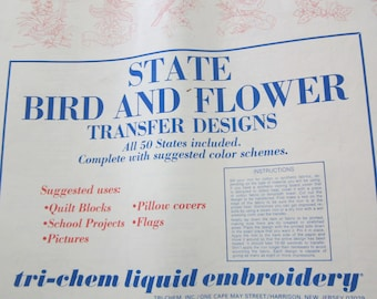 50 State Bird and Flower Transfer Designs
