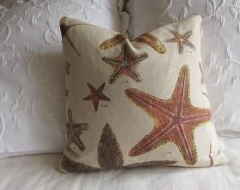 STARFISH screen print 16x16 decorative pillow includes insert