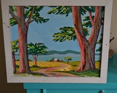 Vintage Paint by Number Oil Painting, Landscape, 1950s, for Eric