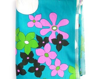 Vintage Large Print Floral Fabric - Mod Floral Hawaiian Print in Aqua, Pink, Lime and Olive / Vertical Texture