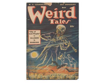 Weird Tales: May 1948 - great vintage pulp with cover color, Bradbury story - Free US Shipping