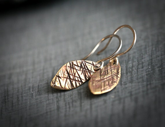 Textured Brass and Sterling Silver Leaf Dangle Earrings