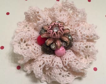 Shabby Chic, Lace Rosette, Victorian, Retro Chic Flower, Beads, Decoration, Embellishment, Package Topper, Hat, Brooch, Bag, Vintage Chic