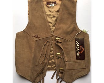 Vintage 70's Jordache Suede Fitted Vest Deadstock