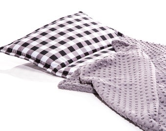 Gender Neutral Kinder Nap Mat, Sleeping Day Care Mat, Built in Charcoal Minky Blanket and Pillow, Buffalo Plaid, White Gray Black