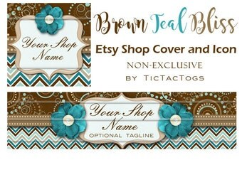 Brown Teal Bliss New Etsy Banner Cover and Icon Ready-made Customized Graphics Set