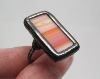 Desert Sun - Sterling Silver Stained Glass Ring - Size 6.5