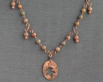 Oak leaf autumn jasper necklace