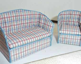 "Half Scale, 1/24"", 1/2"" Sofa and Chair Set"