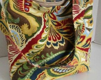 Handbag tote bag slouch bag purse home decor fabrics quilted interior pockets