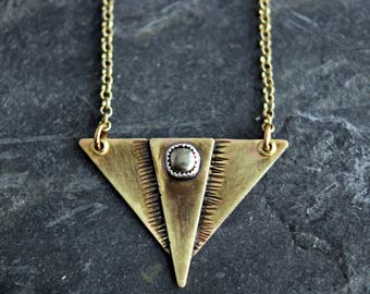 Hammered Brass Triangle Shield Pendant with Pyrite