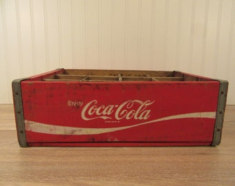 Wonderful solid wood red vintage Coca Cola Coke crate with interior bottle slots- solid, nice vintage condition, great Coke history