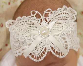 Newborn, baby, toddler, girl white or ivory butterfly christening headband, flower girl headband