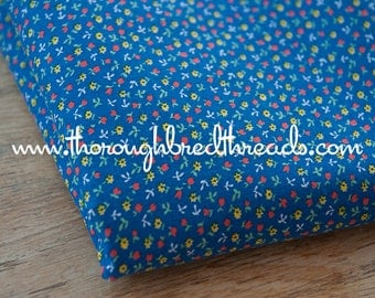 Daisies and Tulips on Blue- Vintage Fabric Bright Floral Whimsical New Old Stock Calico