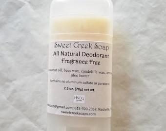 Natural Deodorant, Fragrance Free, 2.5 oz. Stick