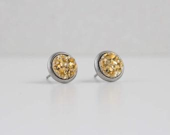 Gold Metallic Druzy Crystal Earrings | ATL-E-150