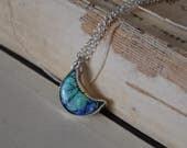 Monarch Opal Crescent Moon Necklace