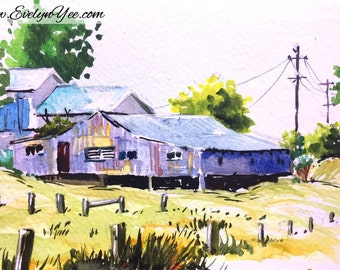 Original Farm houses landscape watercolor painting in purple and blue / wall art / interior decor