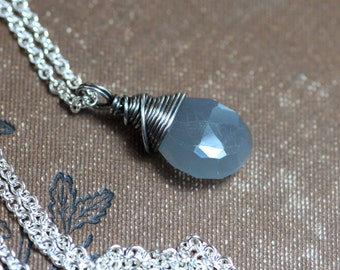 Gray Moonstone Necklace Rustic Wire Wrapped Briolette Pendant Sterling Silver Chain Grey Gemstone Necklace