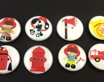 "8 Fireman Buttons.  Firefighter handmade buttons.  3/4"" or 20 mm. Children's Sewing Buttons."